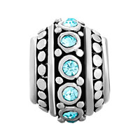 Charms Beads - MARCH BIRTHSTONE AQUAMARINE BLUE CZ EUROPEAN BEAD CHARMS BRACELETS alternate image 2.