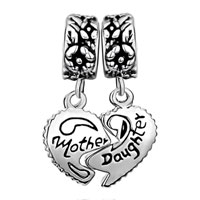 "European Beads - MOTHER JEWELRY HEART SHAPE ""MOTHER AND DAUGHTER"" LOVE DANGLE EUROPEAN BEADS ALL BRANDS CHARMS BRACELETS alternate image 2."
