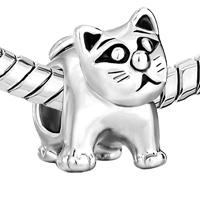 Charms Beads - SILVER CUTE CAT ANIMAL CHARMS FOR BRACELETS EUROPEAN BEAD BRACELET alternate image 1.