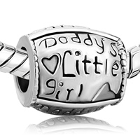 Charms Beads - DADDY'S LITTLE AMERICAN GIRL CHARM BRACELET HEART EUROPEAN BEAD alternate image 1.