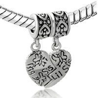 Charms Beads - SILVER BIG SISTER CHARM BRACELET HEART DANGLE EUROPEAN BEAD CHARMS alternate image 1.
