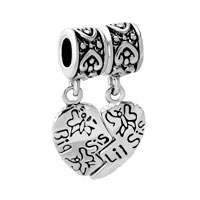 Charms Beads - SILVER BIG SISTER CHARM BRACELET HEART DANGLE EUROPEAN BEAD CHARMS alternate image 2.