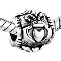 European Beads - IRISH CLADDAGH FRIENDSHIP AND LOVE BEAD FIT ALL BRANDS &  SILVER PLATED BEADS CHARMS BRACELETS alternate image 1.