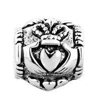 European Beads - IRISH CLADDAGH FRIENDSHIP AND LOVE BEAD FIT ALL BRANDS &  SILVER PLATED BEADS CHARMS BRACELETS alternate image 2.