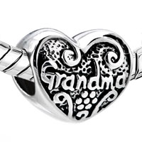Sterling Silver Jewelry - MOM CHARMS GRANDMA CHARMS STERLING SILVER HEART BEADS alternate image 1.