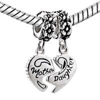 Sterling Silver Jewelry - MOTHER DAUGHTER CHARMS HEART BEADS STERLING SILVER BEADS alternate image 1.