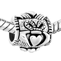 Sterling Silver Jewelry - PUGSTER?  STERLING SILVER IRISH CLADDAGH FITS BEADS CHARMS BRACELETS FIT ALL BRANDS alternate image 1.
