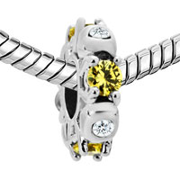 Charms Beads - SILVER PLATED TOPAZ YELLOW WHITE CRYSTAL DIAMOND ACCENT CHARM SPACER alternate image 1.