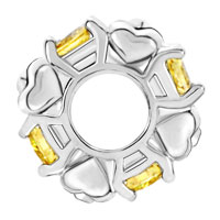 Charms Beads - SILVER PLATED TOPAZ YELLOW WHITE CRYSTAL DIAMOND ACCENT CHARM SPACER alternate image 2.
