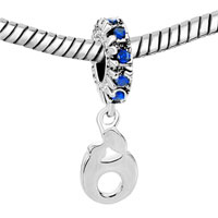Charms Beads - SEP BIRTHSTONE BLUE CRYSTAL DANGLE MOM BABY CHARM BRACELET FAMILY LOVE alternate image 1.