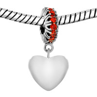 Charms Beads - JAN BIRTHS GARNET RED CRYSTAL DANGLE HEART LOVE CHARM BRACELET alternate image 1.