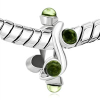 Charms Beads - AUG BIRTHSTONE PERIDOT GREEN CRYSTAL MUSIC CHARM BRACELET NOTE alternate image 1.