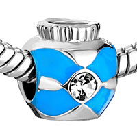 Charms Beads - SILVER PLATED SMALL JAR BLUE CROSS BRACELET CHARMS PATTERN BEADS alternate image 1.