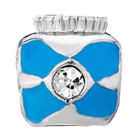 Charms Beads - SILVER PLATED SMALL JAR BLUE CROSS BRACELET CHARMS PATTERN BEADS alternate image 2.