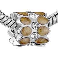 Charms Beads - SILVER PLATED BROWN PATTERN CRYSTAL EUROPEAN BEAD CHARMS BRACELETS alternate image 1.