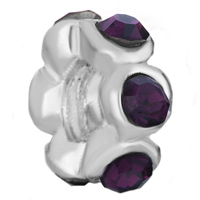 Charms Beads - ROUND FEBRUARY BIRTHSTONE PURPLE CRYSTAL BEADS CHARMS BRACELETS alternate image 1.