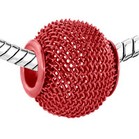 Charms Beads - SILVER RED CROCHET CHARM BRACELET SPACER EUROPEAN INFANT CHARM BEAD alternate image 1.