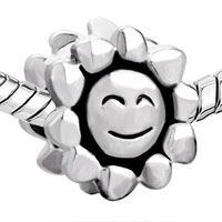 European Beads - SMILEY SUN SILVER PLATED BEADS CHARMS BRACELETS alternate image 2.