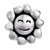 European Beads - SMILEY SUN SILVER PLATED BEADS CHARMS BRACELETS alternate image 1.