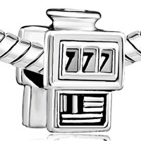 Charms Beads - SLOT MACHINE CASINO 777 SILVER BEADS CHARMS BEADS CHARMS BRACELETS alternate image 1.