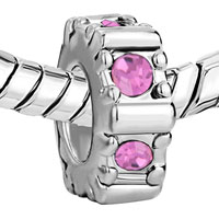 Charms Beads - ROSE PINK SWAROVSKI CRYSTAL CHARM BRACELET SPACER EUROPEAN BEAD alternate image 1.