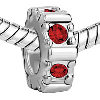 Charms Beads - JANUARY BIRTHSTONE GARNET RED CRYSTAL CHARM BRACELET SPACERS HOLIDAY alternate image 1.