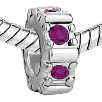 Charms Beads - FEBRUARY BIRTHS AMETHYST WHEEL GEAR HOLIDAY BEAD CHARM BRACELET alternate image 1.