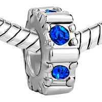 Charms Beads - SEPTEMBER BIRTHS SAPPHIRE CRYSTAL WHEEL GEAR HOLIDAY BEAD CHARM alternate image 1.