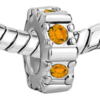Charms Beads - NOVEMBER BIRTHS CITRINE TOPAZ CRYSTAL WHEEL GEAR HOLIDAY BEAD CHARM alternate image 1.