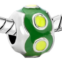Charms Beads - SILVER PLATED GREEN ROUND EUROPEAN INFANT CHARM BEAD CHARM BRACELETS alternate image 1.