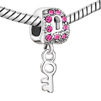 Charms Beads - SILVER LOCK DANGLE KEY PINK CRYSTAL EUROPEAN BEAD CHARMS BRACELETS alternate image 1.