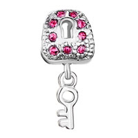 Charms Beads - SILVER LOCK DANGLE KEY PINK CRYSTAL EUROPEAN BEAD CHARMS BRACELETS alternate image 2.