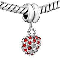 Charms Beads - SILVER HEART CHARM BRACELET JANUARY BIRTHSTONE LOVE EUROPEAN BEAD alternate image 1.