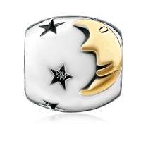 Charms Beads - SILVER PLATED STARRY MOONLIGHT NIGHT EUROPEAN BEAD CHARMS BRACELETS alternate image 2.
