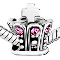 Charms Beads - SILVER CELTIC CLADDAGH IRISH CROSS BRACELET CHARM CROWN CRYSTAL alternate image 1.
