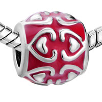 European Beads - RED HEART FIT ALL BRANDS SILVER PLATED BEADS CHARMS BRACELETS alternate image 1.