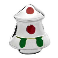European Beads - CHRISTMAS TREE SHAPE WITH DOT CLASSIC SILVER PLATED BEADS CHARMS BRACELETS alternate image 2.