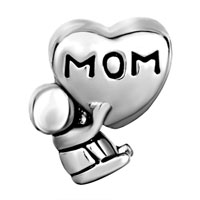 Charms Beads - MOTHER DAUGHTER CHARMS MOM BABY CHARM BRACELET HEART EUROPEAN BEAD alternate image 2.