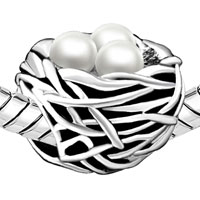 Charms Beads - SILVER PLATED PEARL CHARM BRACELET NEST GORGEOUS EUROPEAN BEAD alternate image 1.