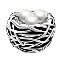 Charms Beads - SILVER PLATED PEARL CHARM BRACELET NEST GORGEOUS EUROPEAN BEAD alternate image 2.