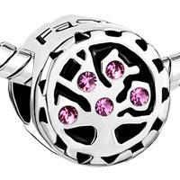 Charms Beads - ROSE PINK CRYSTAL FAMILY TREE OF LIFE FOR BEADS CHARMS BRACELETS FIT ALL BRANDS alternate image 1.