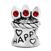Charms Beads - RED SWAROVSKI CRYSTAL HAPPY BIRTHDAY CAKE BEADS CHARMS BRACELETS alternate image 2.