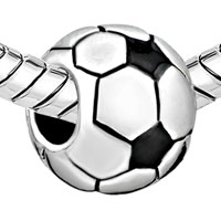 Charms Beads - SILVER FOOTBALL CLASSIC EUROPEAN INFANT CHARM BEAD CHARMS BRACELETS alternate image 1.