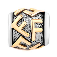 Charms Beads - GOLDEN LETTER INITIAL F CLASSIC ALPHABET FIT ALL BRANDS TWO TONE PLATED BEADS CHARMS BRACELETS alternate image 2.