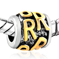 Charms Beads - GOLDEN LETTER INITIAL R CLASSIC ALPHABET FIT TWO TONE PLATED BEADS CHARMS BRACELETS ALL BRANDS alternate image 1.