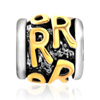 Charms Beads - GOLDEN LETTER INITIAL R CLASSIC ALPHABET FIT TWO TONE PLATED BEADS CHARMS BRACELETS ALL BRANDS alternate image 2.