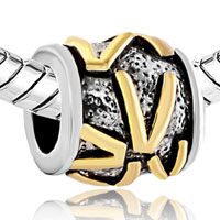 Charms Beads - GOLDEN LETTER INITIAL V CLASSIC ALPHABET FIT ALL BRANDS TWO TONE PLATED BEADS CHARMS BRACELETS alternate image 1.