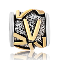 Charms Beads - GOLDEN LETTER INITIAL V CLASSIC ALPHABET FIT ALL BRANDS TWO TONE PLATED BEADS CHARMS BRACELETS alternate image 2.