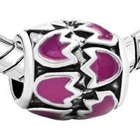 Charms Beads - PINK FLORAL EUROPEAN BEAD CHARMS CHARMS BRACELETSS ENAMEL PATTERN alternate image 1.