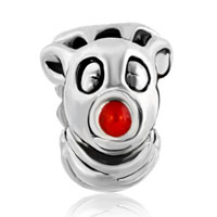 European Beads - RED NOSE DEER SILVER PLATED BEADS CHARMS BRACELETS alternate image 2.